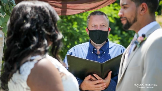 Officiant Wearing Mask on Wedding